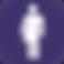 Refuge Restrooms Logo, a dark purple square with white mens/womens restroom figures meshed together