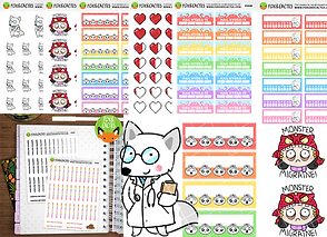 Various stickers for tracking health elements, cartoon migrine stickers, a fox dressed as a doctor.