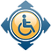 Parking Mobility Logo, blue wheelchair symbol in a yellow circle surrounded by blue map directional arrows