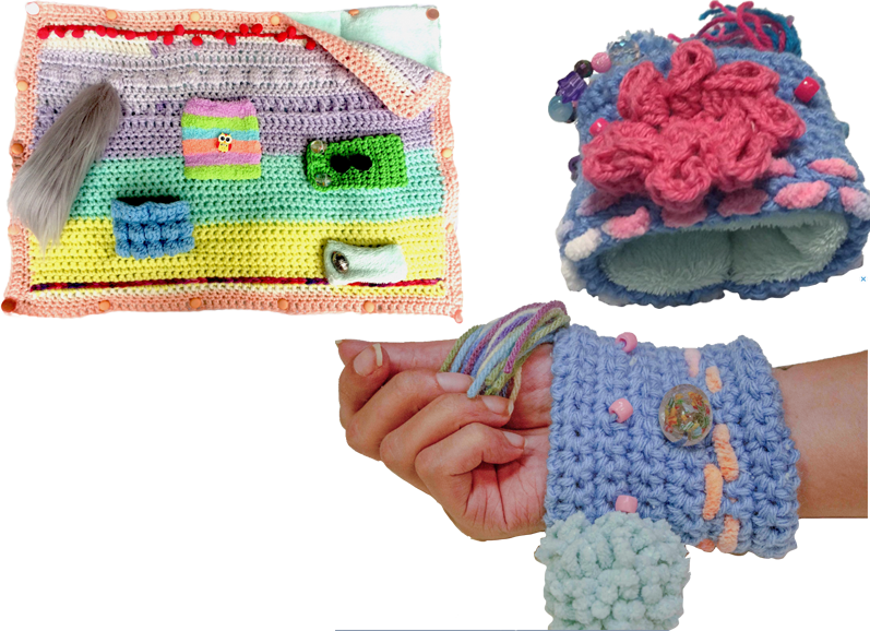 A knit/crocheted top to a weighted blanket of many pastel colors with various fidgets and pockets on it.  A white person's wrist wearing a knit/crocheted cuff with yarn strands, beads, poms, etc, and the same purple cuff above with a large pink flower and other fidget pieces attached.