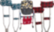 A pair of crutches with Eagles Football themed pads, an adult bib in black and yellow circular pattern, a walker with a Phillies themed bag on teh front, and a pair of crutches with red plaid pads.