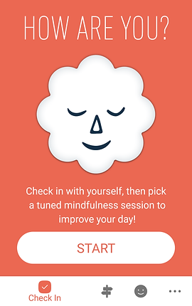 """Screenshot of Stop Breathe & Think App, an orange screen with the app's logo in the center.  White text above reads, """"How are you?"""" and white text below reads, """"Check in with yourself, then pick a tuned mindfulness session to improve your day!"""""""