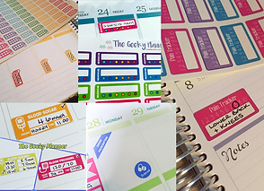 Stickers and trackers in sheets and on planner pages shown recording various health information and notes.