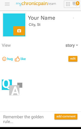 """Screenshot of Chronic Pain Support App, a white screen with """"My Chronic Pain Team"""" at the top.  Below is a square with a camera icon for uploading your photo, next to text to enter your name, city and state.  Below are icons for """"hug"""" and """"like,"""" as well as a dropdown menu for """"story"""" and an edit button."""