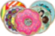 A photo of 5 spoke covers in 5 different patterns.  One is multicolored abstract stripes, one rainbow colored henna, one resembling a donut with sprinkles, one with women's faces in varying ethnicities and one with whales swimming