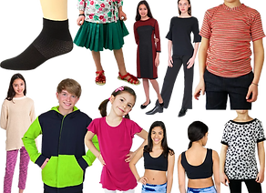 A range of kids, tweens and teen wearin adaptive clothing including shirts that fit front and back, reversible dresses,seamless skirts and top, seamless sports bras, multi-fit socks and various super soft pants.