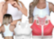 A white woman in 3 different white post-mastectomy bras and 2 additional bras, one white and one red striped pattern.