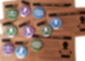 "An assortment of round pins on brown cardbacks.  The pins are blue, green or purple and include the following phrases, ""My Disability is Invisible,"" ""My Disabilty is Episodic,"" Please Offer Me a Seat"".  Some of the pins alo have a white silhouette of a peron holding a sign that shows a graph."