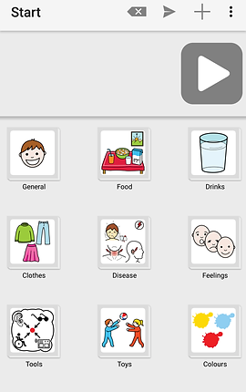 "Screenshot of LetMeTalk App, a white screen with navigation icons along the top, and a large gray and white play button to the right below the menu bar.  Below the button is a series of square images showing categories of conversation.  ""General, Food, Drinks, Clothes, Disease, Feelings, Tools, Toys"" and ""Colours""  Each square has an image relating to its category."