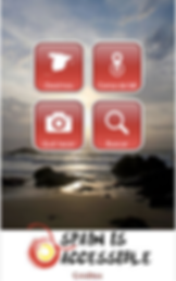 "App screenshot is of 4 red square buttons over a photo of  seside landscape at sunset.  The red buttons are labeled: destinos, cerca de mi, que hacer"" and ""buscar"" and have white icons above their text. The bottom of image is a white rectangle withe logo and the words ""Spain is accessible"" in black."