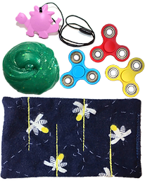 Various stim and sensory toys including a marble maze, 3 fidget spinners, a chew necklace shaped like a pink dinosaur and a glob of sensory slime.