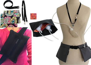 A set of paisley patterened drain pouches laid flat with belt and layard, a mannequin showing drain pouches and lanyard in use, drain pouches with drains inside laid flat and open to show patterned interior, a person in pink wearing a black pillow looped through a seatbelt.