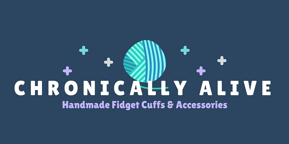 """The logo of the Chronically Alive etsy shop, a blue toned ball of yarn with text reading, """"Chronically Alive Handmade Fidget Cuffs & Accessories"""""""