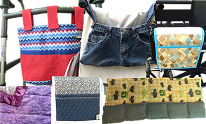 a walker bag in red and blues, a wheelchair bag made of denim jeans, a wheelchair armrest bag in abstract blues and tan colors, a weighted blanket in purple tones, a wheelchair arm rest bag in blue and white patterns, and a weighted lap blanket with tractors on it.