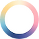 Round Health Logo, a white circle with multi-colored border
