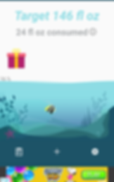 "Screencap of Drink Water Aquarium App, an illustrated aquarium with sand and plants and  a yellow, black and white fish.  Below a banner ad is visible.  Above the illustration is a white space with blue text reading, ""Target 146 fl oz"" and gray text reading, ""24 fl oz consumed.""  At the water line of the aquarium is a small gray notation reading, ""16%."""