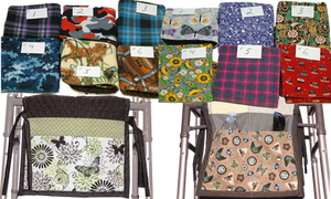 12 folded swatches of a wide variety of patterned fabrics above 2 different patterned walker bags.