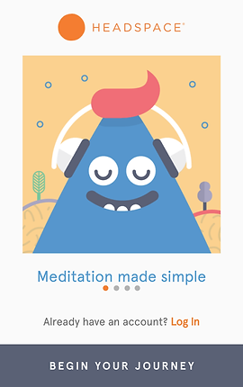 """Screenshot of Headspace App, a white screen with pale yellow square in the middle.  In the square is a blue cartoon triangle shape with smiling, closed-eyes face. It has red hair and is wearing white headphones.  Below, text reads, """"Meditation made simple.""""  and a button reading, """"Begin Your Journey"""""""