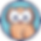 CareZone Logo, a cartoon brown owl on a light blue circle with thin black line border