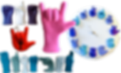 "Scultures made out of hands spelling in ASL.  One with a blue, white and purple hand set that spell out ""ART,"" a hand making the ""I Love You"" sign, a set of varying blue hands spelling out ""brother,"" and a clock with the ASL number signs making the times of the day."