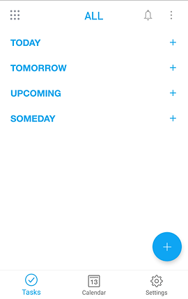 "Screenshot of Any.Do App, a white screen with choices for, ""Today, Tomorrow, Upcoming,"" and ""Someday"".  At the bottom is a menu bar with options, ""Tasks, Calendar,"" and ""Settings."""