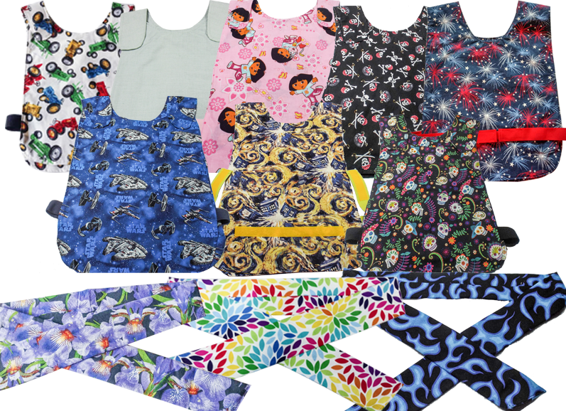 2 rows of velcro-secured vests in various patterns and colors, including fandom themes, nature, plain color, and kids cartoons.  Below are 3 different patterned thin neck scarves in different patterns.