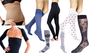 Over the shoulder shrug style compression sleeves, a midsection copression band, Compression socks in a blue with gold dots, gray argyle, multi-color stripes, white with pink flowers and a translucent black with lacy floral design, and a pair of black stirrup style tights.