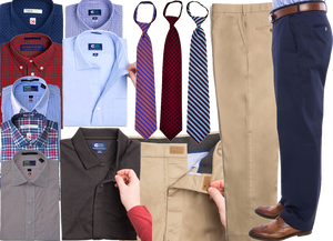 8 different button up shirts for men, women children.  Each looks like astandard buttonu, but 2 show that the buttons actualy fasten magetically. 3 ties already tied in different patterns, and 2 pairs of mens pants, one khaki and one dark blue.  An inset shows the pant closure is also magnetic.