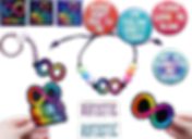 """6 patches and stickers with vaius pro-disabiity and anti-ableism phrases and images.  A teeshirt with pro-disabilty message, and a poster with """"Disabled AF"""" in rainbow pattern of colors."""