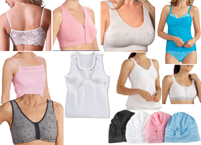 7 white bodies modeling various bras, camis and lingerie sets.  They come in various colors and styles.  There are also 4 soft chemo-caps