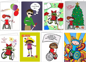 8 greeting cards featuring kids, adults and animals with wheelchairs, red-tip canes, and prosthetics