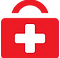 Symple Symptom Tracker Logo, a simpl red doctor-style bag wih white plus sign on it