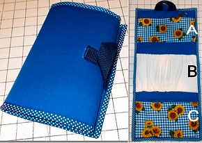 an organizing bag that is blue on the outside with sunflower fabric and white fabric pockets on the inside.