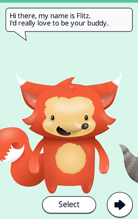 "Screenshot of Booster Buddy App, a pale green screen with a cartoon fox standing on two legs with mouth open and a speech bubble above reading, ""Hi there, my name is Flitz. I'd really love to be your buddy."""