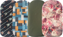 3 different ostomy bag covers in different fabrics/patterns