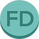 Flaredown Logo, a green pill with FD printed on it