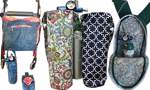 A rollator with a blue fabric bag on it, with a matching small bag and matching oxygen tank tote, 2 oxygen tank covers in different patterns, and an open oxygen tank backpack with tank inside.