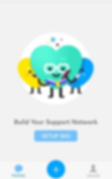 "Screenshot of Stigma App, a white screen with three heart-shaped characters in the center.  Below is text reading, ""Build Your support Network"" and a blue ""setup bio"" button."