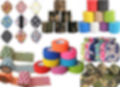 A set of 9 cloth menstruation pads in different patterns, 3 stacks of bandage wrap tape in diferent colors and patterns, a row of hot water bottle overs, and 2 sets of bandage wrap tape unrolled to show checkerboard and camo patterns.