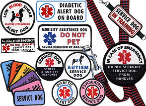 "Various patches declaring service dog responsibiitie.  Including Autism Service Dog, Diabetic Alet Dog and others.  2 different bumperstickers alerting to service dogs in vehicles, a row of 6 different colored ""service dog"" patches, and a leash with ""In Case of Emergency Do Not Separate Service Dog from Handler."""