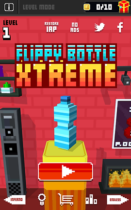 "Screenshot of Flippy Bottle Extreme App, a red screen with black top bar.  On the black bar is an info button, the words ""LEVEL MODE"" in pale gray, a gold ""F"" button, a counter reading 0/10 and an illustrated pedestal. In the red portion is a squared-off illustration of a water bottle on a yellow pedestal.  Below it is an orange pixelated play button.  The words ""FLIPPY BOTTLE EXTREME"" are in large pixely print above the illustration.  At the bottom is a gray bar with back and forward buttons, a prize ribbon icon, a shopping cart, and a bar graph icon."