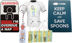 "A sticker with a stick figure in bed reading, ""Warning I'm overdue for a Nap,"" a keychain of a small corked glass bottle with tiny spoons in it, a row of green and yellow bookmarks with spoons and various sayings on them, a tee shirt with a girl clutching an armful of spoons, and a poster reading, ""Keep Calm and Save Spoons."""