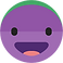 Daylio Logo, A purple emoji face with open mouthed smile