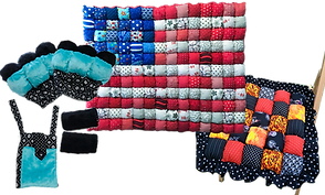 A set of padded crutch pads with matching bag, a bubble quilt in an american flag pattern, and a quilted bubble chair pad