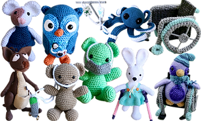 several crocheted animals with various medical and mobility equipment.  A kangeroo with an insulin pump, a white mouse with a port wine stain on it's face, an Owl with an insulin pump, a blue octopus hooked up to an iv, a crocheted wheelchair with a penguin in it, a white bunny on crutches and only 1 leg, a green bear with gray face mask, and a brown bear with oxygen tank and cannula.