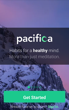 "Screenshot of Pacifica App, a photo of a snowy mountainside at dusk, over which is an opaque black band with white text. The text reads, ""Pacifica. Habits for a healthy mind.  More than just meditation."""