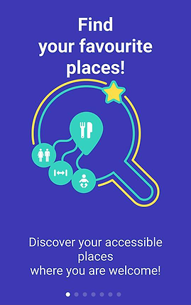 "Screenshot of Route4U, a royal blue screen with the outline of a magnifying glass shape in the center.  From the magnifying glass' center- 3 icons for restrooms, lodging, and babies stem off of a larger restaurant icon.  Above the image is white text reading, ""Find your favourite places!"" Below the icon is smaller text reads, ""Discover your accessible places where you are welcome!"""