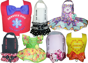 "7 different hand made fabric vests and dress-stylecovers for dogs.  Each isembroidered with ""service dog"" or similar information.  All of the vests are decorated with bows orruffles and are in pretty and unique color combinatios."