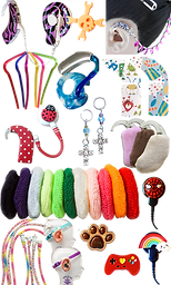 Various decorated Hearig Aid ad Cochlear accessories.