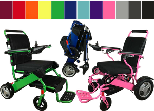 2 power wheelchairs, one bright green, one bright pink.  Folded is a blue version of the same chair.  At the top is a row of color swatches.